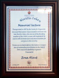 Neville Cohen Memorial Lecture Award